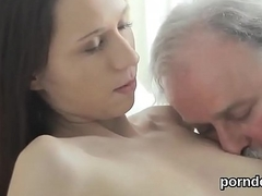 Lovable college girl is teased together with pounded by their way older teacher