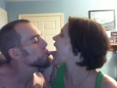 A day-dreamer wife'_s tongue sucked by her boyfriend