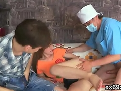 Stud assists with regard to hymen examination and nailing of virgin cutie