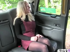 Pretty blonde babe in pantyhose railed by fake serving-man