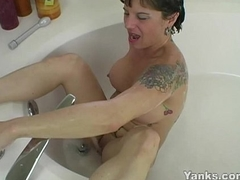Tattooed MILF Randy Masturbating Approximately The Bath Boatswain's pipe
