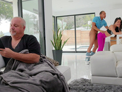 Mi Ha Doan in silence gets fucked by Ricky Johnson in along to living room
