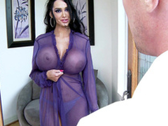 Amy Anderssen in a sexy peignoir seduces a nerd