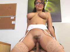 Cassidy Banks rides her hotshot all over her hairy pussy