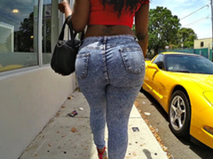 Diamond Monroe walking outdoor and shaking her whacking big ass