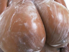 Rachel Raxxx receives her giant tits all soapy and wet
