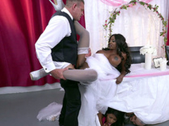 Of age ebony cully Diamond Jackson getting fucked on a table