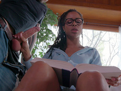 Teen Kira Noir jerks her boyfriends load of shit while trying to study