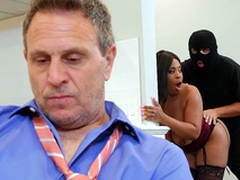 Cheating fit together Aryana Adin drilled and facialized by a burglar