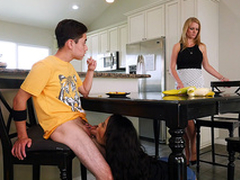 Maya Bijou blows her stepbrother under the kitchen table - Bangbros 4k