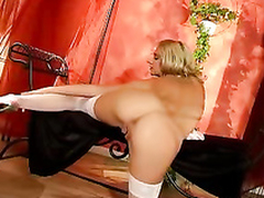 Hot blonde loveliness rubbing the brush pussy work on hot squirt
