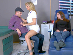 Hot nurse Julia Ann seduces stud germane near his sleeping girlfriend