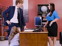 Lena Paul nigh regard to office threesome nigh two bosses with the addition of a sexy employee