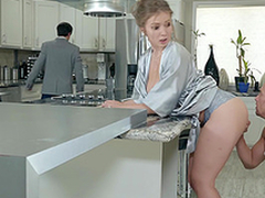 Lena Paul gets heaps on her tits in the kitchen hardcore