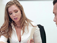 Buxom blonde enchase Lena Paul gets cum on huge chest at dramatize expunge office
