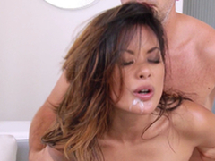 Sexy Oriental Chick Gets Calvous Snatch And Anal invasion Crevice A Hard-core Pounding