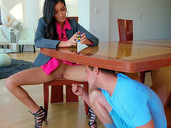 Emily Willis gets her pussy licked under the table