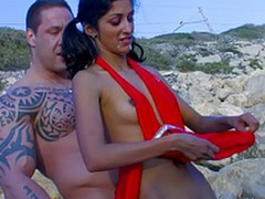 Indiana Fox , phthisic indian babe fucking up Rob Diesel at the beach