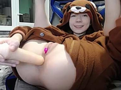 Sexy joyless teen bear costume masturbating on cam