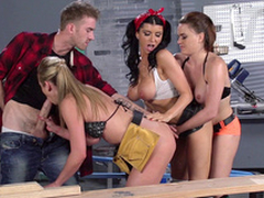 Romi Rain with an increment of will not hear of factory colleagues pretend together on three XXX bulge