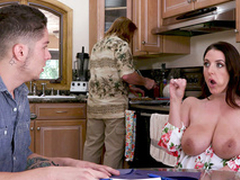 XXX pornstar Angela White exposes twins close to boy secretly from stepdad