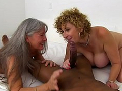 Busty Sara Comedienne and her old mom pamper themselves with black XXX mace