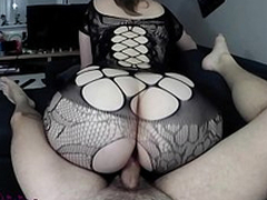 Point for view XXX video where the X-rated mother wears black bodystocking