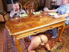 Crumbly whore Venus Afrodita climbs under the table for XXX sucking