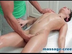 Nasty pigtail wants take tasting cum of masseur