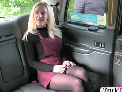 Amateur blondie gal in hose railed by hoax stewardess