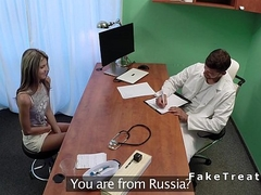 Russian babe primary time at doctor fucks him in office